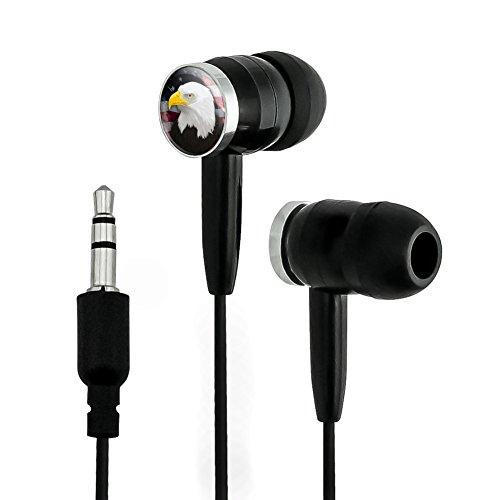 American Bald Eagle Flag USA Patriotic Novelty in-Ear Earbud Headphones - Black