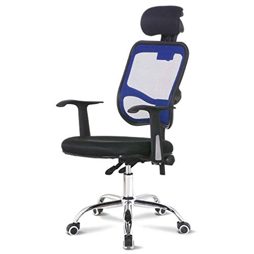 Ergonomic Office Chair High Back Mesh Desk Chair with Arm Rests Computer Chair Height Adjustable and Head Support (Color : Blue)