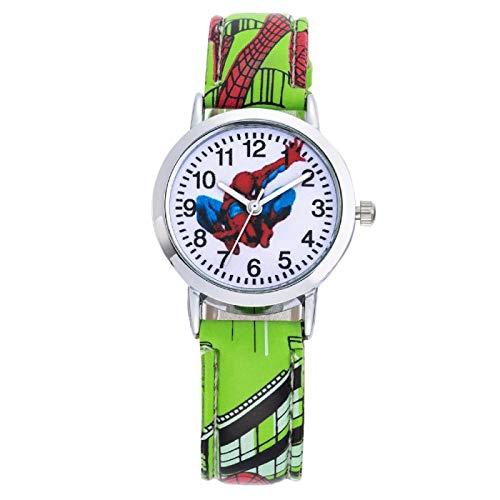 Reloj niño SFBBBO Relojes de Dibujos Animados para niños, patrón Fresco, Correa de Cuero, Reloj de Pulsera para niños, Regalo para bebés, Verde