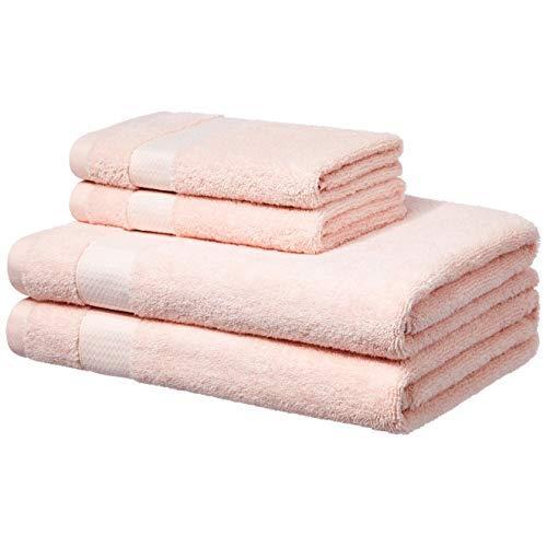 Amazon Basics - Handtücher für den Alltag - 2 Badetücher und 2 Handtücher, Rouge