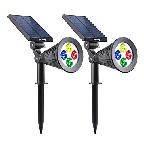 Lumisky SPIKY C34 X2 Set de 2 Projecteur Spot Solaire 4 LED Extérieur Etanche Lumière 2-en-1, Plastique, Intégré, 1,5 W, Rgb, 29 x 9,5 x 34 cm
