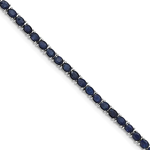 925 Sterling Silver Sapphire Tennis Bracelet with Secure Box Catch, 7.5inch for Women