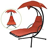 Flex HQ Outdoor Hanging Chaise Lounger Chair Arc Stand Porch Swing Hammock Chair W/Canopy Orange