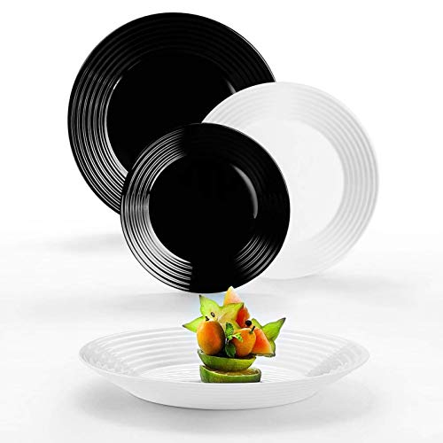 Arcopal/Arcoroc Service de table 18 pièces Catharine, verre Luminarc, noir blanc opale, pour 6 personnes