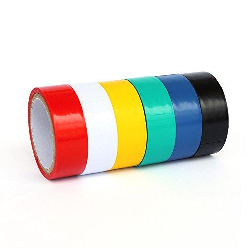 Ytian 6 Pcs PVC Isolierband 3m - Rot, Gelb, Blau, Grün, Schwarz, Weiß