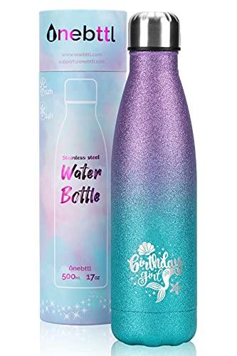 Onebttl Regalos de cumpleaños especiales para niñas, mujeres con patrón de sirena, botella de agua de acero inoxidable, botella de agua para niños de 500 ml con doble pared con aislamiento al
