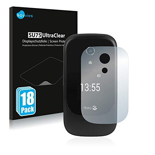 Savvies 18x Schutzfolie kompatibel mit Doro 7060 (Äußeres Bildschirm) Bildschirmschutz-Folie Ultra-transparent