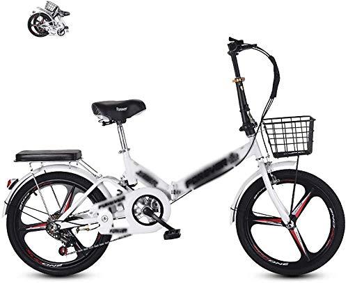 Bicicleta plegable de 20 pulgadas para adultos plegable bicicleta al aire libre plegable para adultos mujeres hombres Mini bicicleta plegable con V Brake-blanco