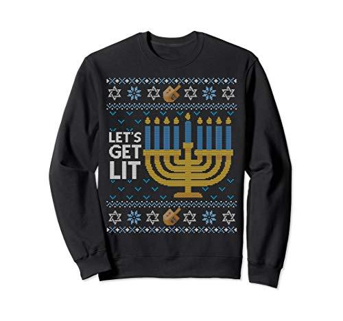 Funny Ugly Hanukkah Sweater Lets Get Lit Drinking Sweatshirt