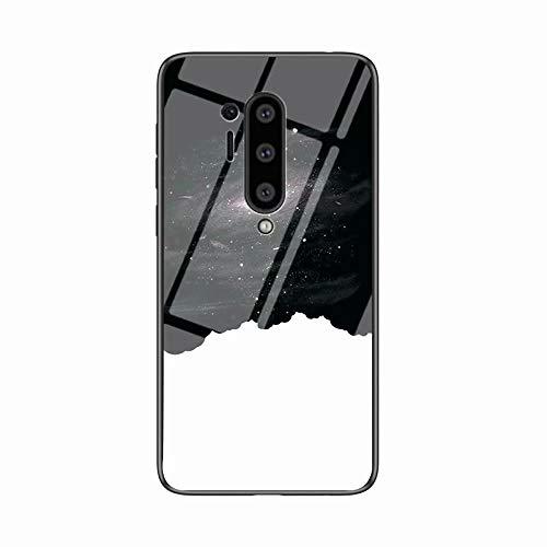 Miagon Glas Handyhülle für OnePlus 8 Pro,Himmel Serie 9H Panzerglas Rückseite mit Weicher Silikon Rahmen Kratzresistent Bumper Hülle für OnePlus 8 Pro,Schwarz Weiß