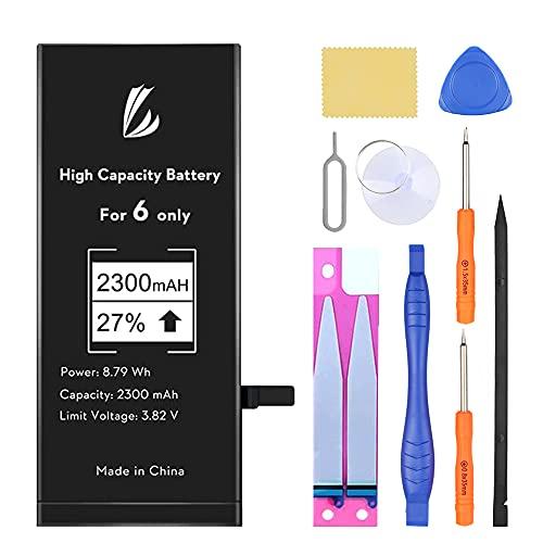 LL TRADER Batería para iPhone 6 2300 mAh, Reemplazo de Alta Capacidad Batería con 27% más de Capacidad y Herraminetas de Reparación, Cinta Adhesiva