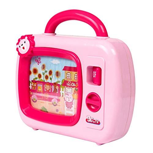 XCVB Cartoon Musical Kleines TV-Spielzeug mit Bildlauf-Spieluhr Lernspielzeug - Blau Pink für Jungen Mädchen Geschenk, 1