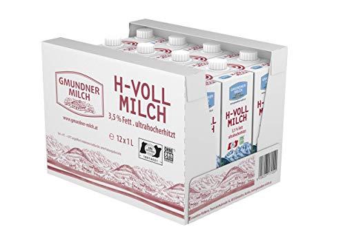 GMUNDNER MILCH Haltbare Vollmilch mit 3,5 % Fett | inkl. Salzkammergut-Kochbuch | 3 Monate ungekühlt haltbar, 12 x 1 L | Lebensmittel aus Österreich