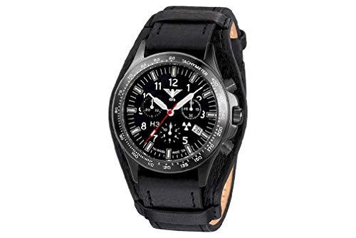 KHS Tactical Watches Black Platoon Titan Chronograph KHS.BPTC.R Titan IPB Leder / G-Pad