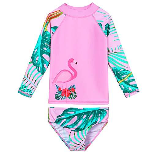 ZNYUNE - Costume da bagno da bambina, 2 pezzi, 3 – 10 anni, a maniche lunghe, con protezione UV, costume da bagno Fenicottero rosa. 8-9 Anni