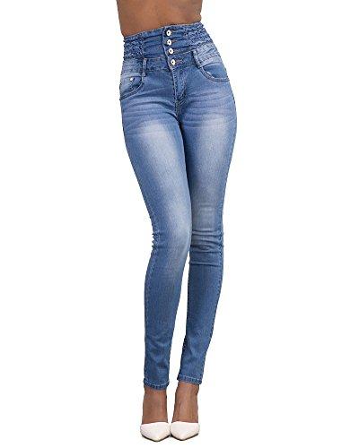 Jeans Vita Alta Donna Skinny Denim Pantaloni Slim Fit Legging Elasticizzati Azzurro Chiaro M