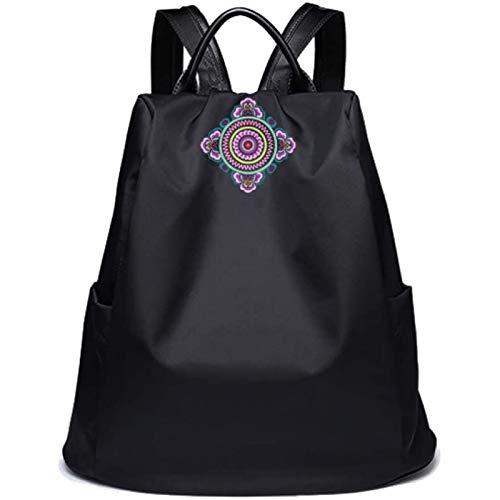 HHTD Classical Casual Daypack Mochilas Vintage Bordado Viaje Viaje Mochila para Mujeres Chica Slim Laptop Mochila Bolsos Bolsa De Hombro Bolso Escuela Bolso (Color : Purple)