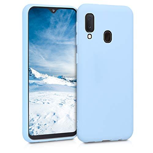kwmobile Funda Compatible con Samsung Galaxy A20e - Carcasa de TPU Silicona - Protector Trasero en Azul Claro Mate