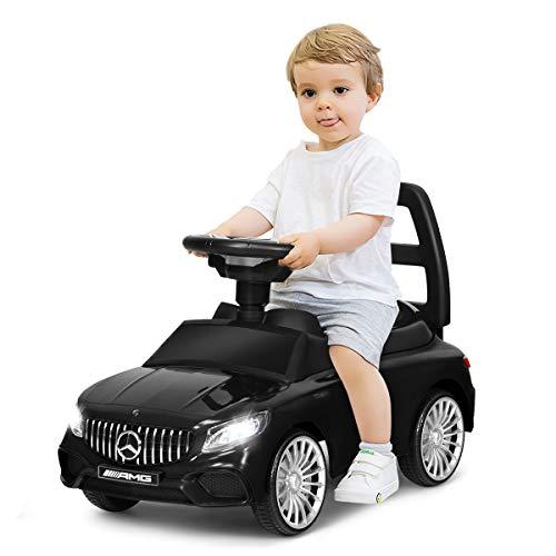 COSTWAY 2 in 1 Kinderauto und Schiebeauto mit LED Scheinwerfer, Hupe und Musik, Rutschauto mit Aufbewahrungsfach unter dem Sitz, Kinderrutscher, Kinder Spielzeugauto (Schwarz)