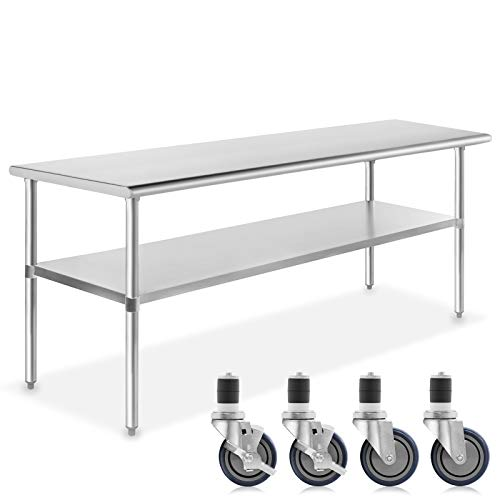 Heavy Duty Stainless Steel Prep Work Table with Crossbar 30 x 24 and Casters Wheels NSF