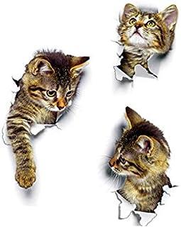 CLMQ CLMZ Cute Cat Wall Sticker Living Room Bedroom Decoration Creative 3D Animal Wall Sticker Bathroom Toilet Sticker (XH...