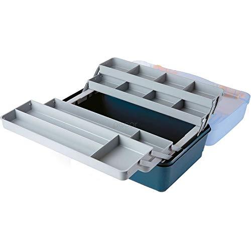 Lineaeffe Boîte de Pêche 4 Plateaux Couvercle Transparent 46 x 28 x 22 cm Boîte de Pêche Msllette Rangement Accessoire Leurre Hameçon Tackle Box Plastique