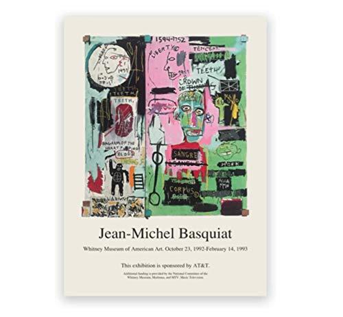 Rzhss Jean Michel Basquiat Pintura Abstracta Bellas Artes Impresión De Lienzo Galería Imágenes De Pared Cartel De Arte Callejero Decoración Del Hogar -20X30 Pulgadas Sin Marco 1 Pcs