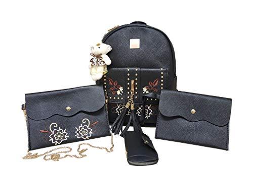 Mädchen Rucksack Set. 1x Rucksack für Mädchen, 1x Schultertasche/Umhängetasche,1x Handtasche/Portemonnaie, 1x Kartentasche. Schönes Taschen-Geschenke-Set für Kinder, Mädchen, Teenager. (Schwarz)