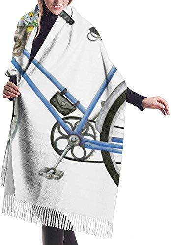 Aquarel Blauw Fiets Met Mooie Bloem Mand Zachte Cashmere Sjaal Wrap Sjaals Lange Sjaals Voor Vrouwen Office Party Reizen 68X196 cm