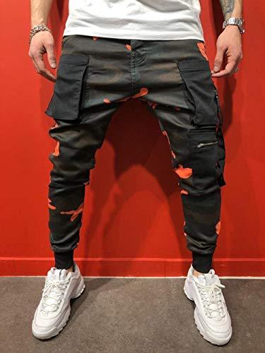 SHYSBV Zijdelingse zakken met ritssluiting heren joggerbroek streetwear camouflage cargobroek heren lange joggingbroek buisbroek XXXL oranje
