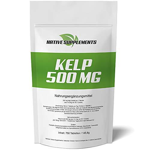 Kelp 500 mg Hochdosiert - XXL Bulk Pack - 750 Tabletten, 2-fache Menge zum Besten Preis - Superfood für Veganer & Vegetarier geeignet, 150µg natürliches Jod, Algen-Komplex - Braunalgen Pulver