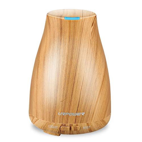 URPOWER 2nd Version Essential Oil Diffuser Aroma Essential Oil Cool Mist Humidifier with Adjustable Mist Mode, Waterless Auto Shut-off for Home Office Bedroom Living Room Study Yoga Spa