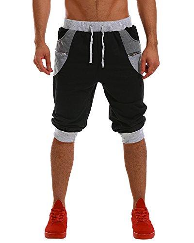 MODCHOK Homme Shorts Bermuda Pantacourt Jogging Sport Poches Casual Taille Élastique (L, Noir 1)