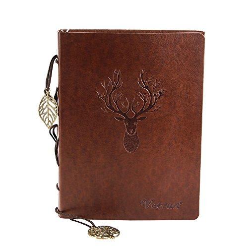 VEESUN A5 Libreta Bonitas Cuaderno de Cuero Vintage Diario de Viaje Recargable...