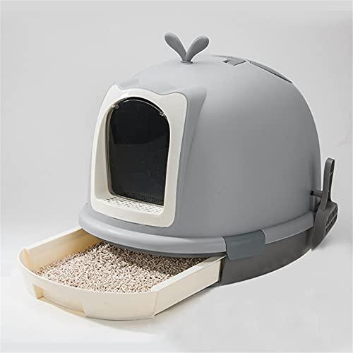Inodoro con bandeja de plástico para gatos Caja de arena de gato con tapa filtrada, frente para entrada y salida de gatito cerrado. Interior y exterior ( Color : Gris , Size : 46x45x56cm )