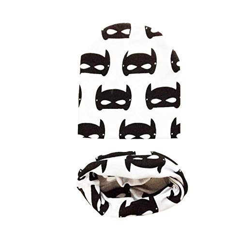 XCLWL Hoeden Voor Dames Baby Hoeden Animal Printing Katoen Baby Caps Kinderen Hoed Sjaal 2 Stks Set Caps Voor Baby Jongen Kids Winter Hoed Grote Batman