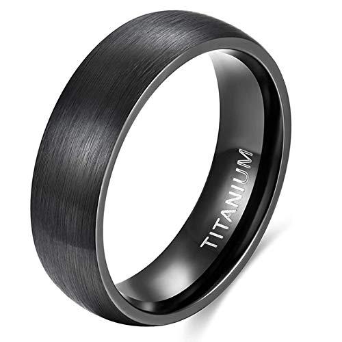 Ring Damen Herren Schwarz Titan Eheringe Partnerringe Trauringe Verlobungsringe Gebürsteter Komfort Fit 6mm 8mm (Schwarz-6mm, 62 (19.7) )
