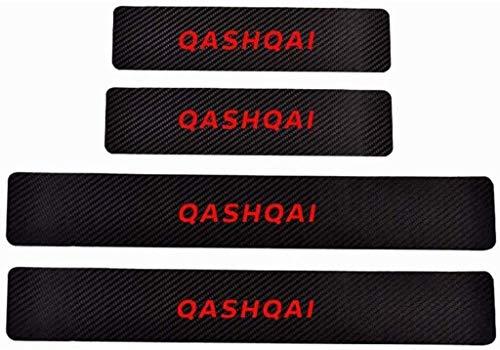 WanMei 4 Pcs Coche Fibra Carbono Protector Umbral Puerta para Nissan Qashqai, Pegatinas Cubierta Película Antipatada Accesorios