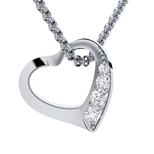 Amoonic Herzkette Silber 925 *Premium ETUI + Ich Liebe Dich Gravur* Damenkette Herz Silberkette Kette Damen Geschenk für Sie Schmuck Halsketten für Frauen Freundin romantische Herz-Anhänger Herzen