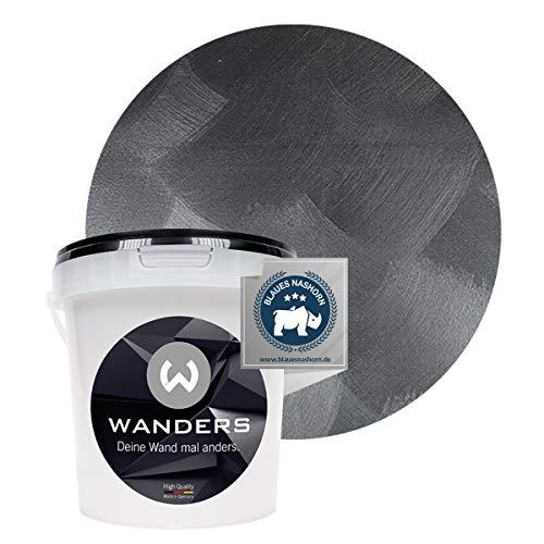 Wanders24® Edel-Metallic (1 Liter, nobles Schwarz) Wandfarbe Metallic - zum Streichen im Metallic Look - in 5 edlen Farbtönen erhältlich - Made in Germany