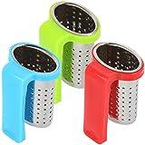com-four® 3x Teesieb aus rostfreiem Edelstahl für Teeliebhaber - zum