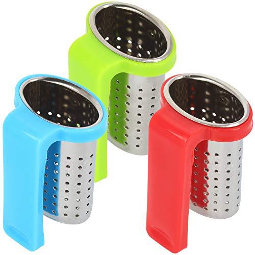 com-four® 3x Teesieb aus rostfreiem Edelstahl für Teeliebhaber - zum Aufhängen am Tassenrand - mit Griff aus Kunststoff in verschiedenen Farben [Auswahl variiert] (03 Stück - bunt)