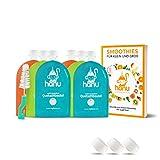 Hanu Quetschies wiederverwendbar + REZEPTBUCH | 6er Set öko Quetschbeutel 150ml für gesunden Baby-Brei, Smoothies, Fruchtmus | BPA-freie Quetschies einfach zum Befüllen & Reinigen