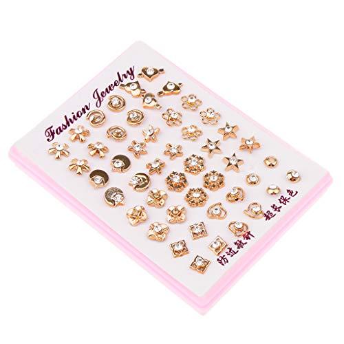 kowaku 24 Pares de Pendientes de Diamantes de Imitación a Granel con Forma Variada, Joyería de Tachuelas