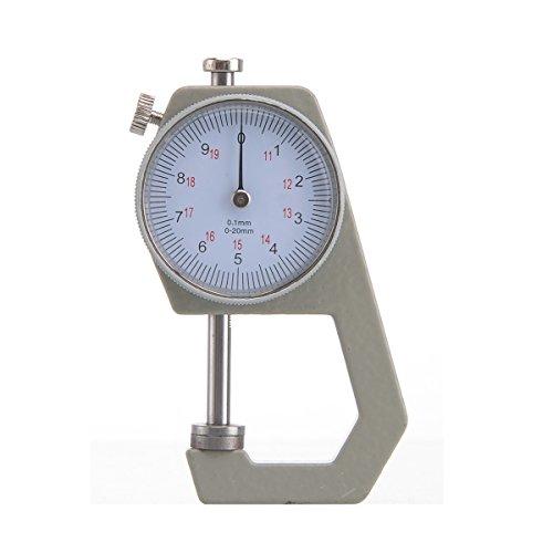 OEM Systems Company - Micrometro a quadrante con calibro da 0-20 mm, per meccanica, per carta e pelle, tascabile, con comparatore di spessore