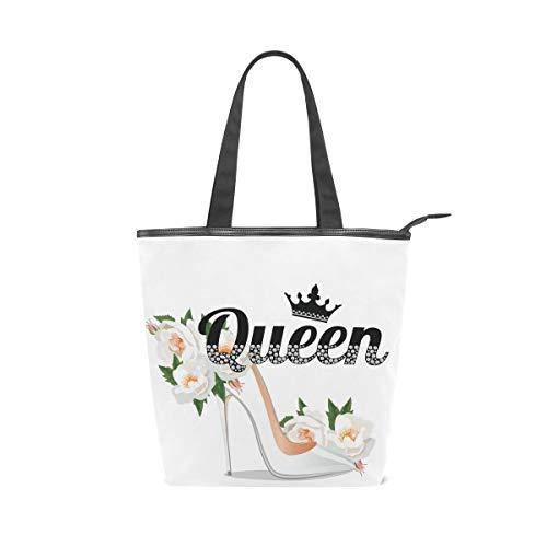Bolsos con correa de peso ligero Queen Slogan con diamantes de imitación y rama Pretty Shoe Crystal Flower Bolsos de hombro vintage Bolso de mano Monedero Compras para mujeres Niñas Damas Estudiantes