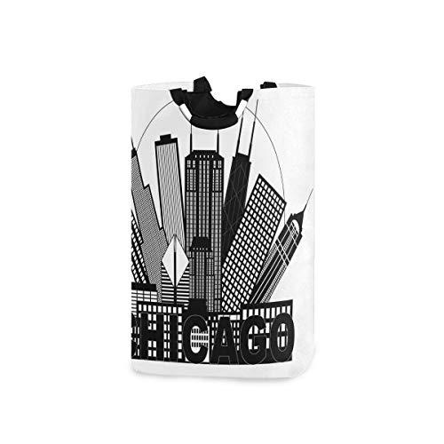 YCHY Wäschekorb,Circle City Landscape Office Gebäude Nordamerikanische Erinnerungen,faltbar,tragbar,platzsparend,Aufbewahrungstasche,schmutzige Kleidung für Badezimmer,Kinderzimmer
