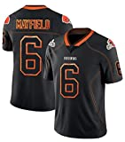 XYEQX Baker Mayfield # 6 Cleveland Brownsamerican Football Jersey, Rugby Jersey T-Shirt Tops, Sweatshirts Short Athletic College Student Boy Youth-Black-M