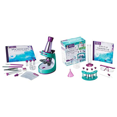 Educational Insights Nancy B's Science Club Microscope and 22-Page Activity Journal, 400x Magnification & Nancy B's Science Club Stir-It-Up Chemistry Lab & Kitchen Experiments Journal