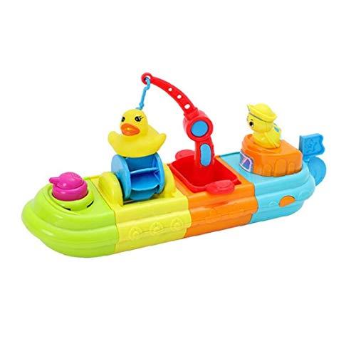 1pc Baby-Bad-Spielzeug-Set Cartoon-Ente Boot Lustige DIY Wasser Bespüldusche Spielzeug Pool Teich Kid Baden Schwimm Spielzeug